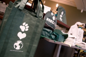 Baker University Center's Bobcat Essentials makes staying green easy by making reuseable bags readily available for purchase to all students. Photo by Elizabeth Linares.